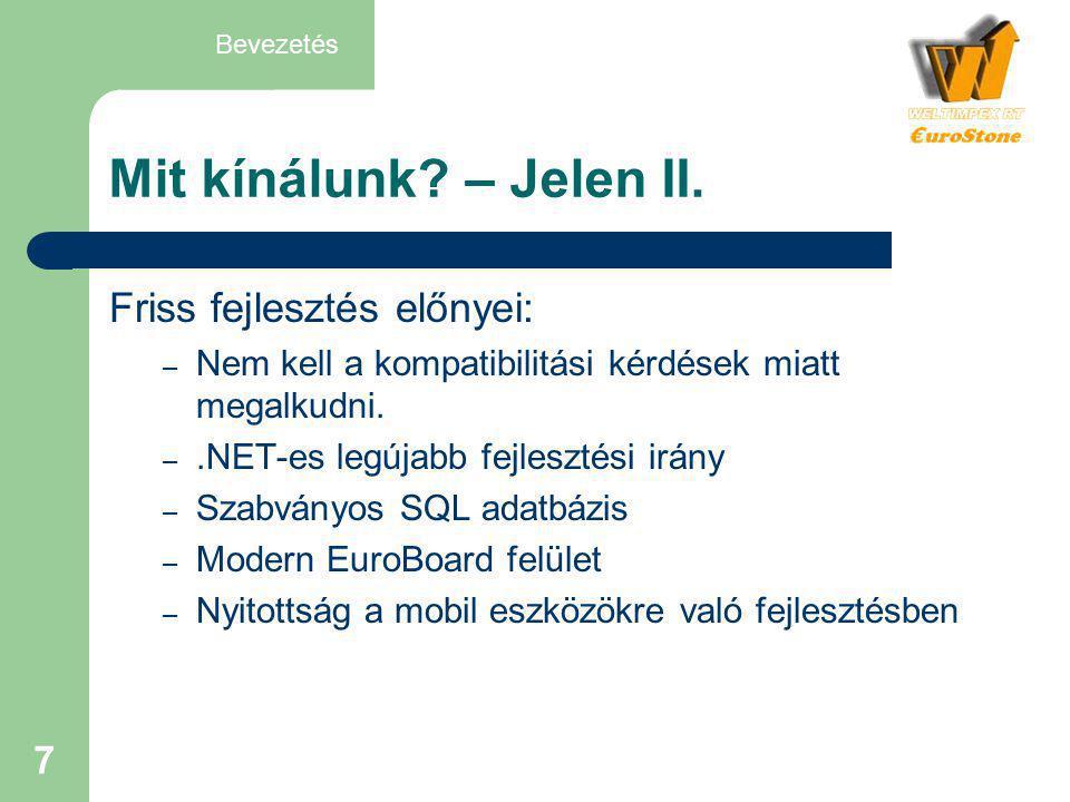 Mit kínálunk – Jelen II. Friss fejlesztés előnyei:
