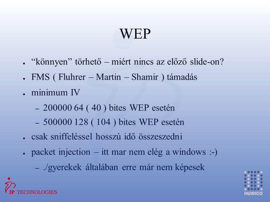 WEP könnyen törhető – miért nincs az előző slide-on