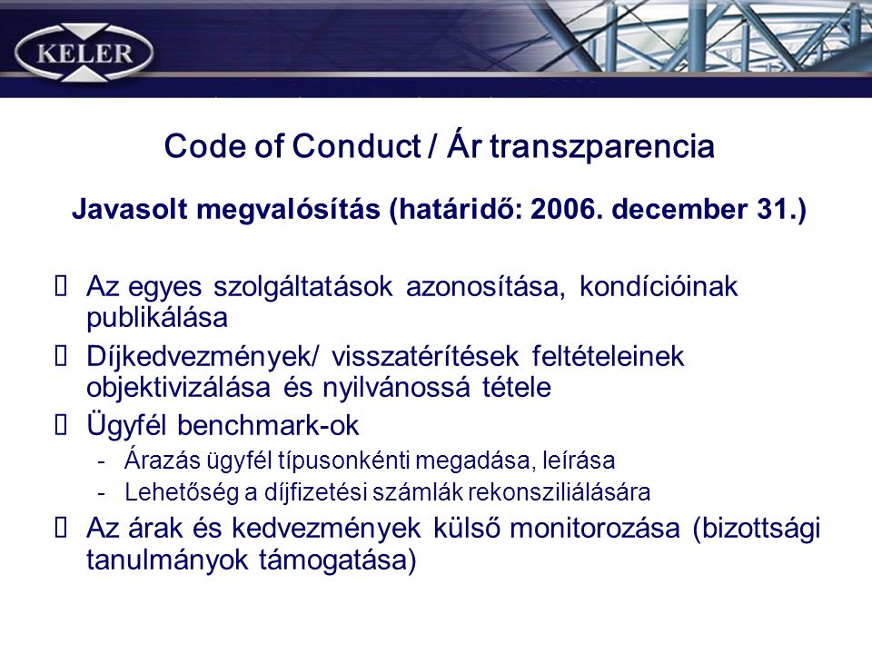 Code of Conduct / Ár transzparencia