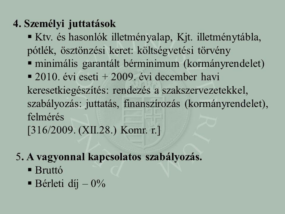 4. Személyi juttatások Ktv. és hasonlók illetményalap, Kjt. illetménytábla, pótlék, ösztönzési keret: költségvetési törvény.
