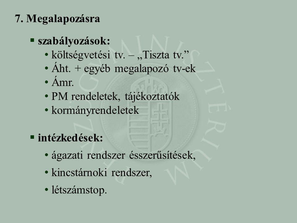 """7. Megalapozásra szabályozások: költségvetési tv. – """"Tiszta tv. Áht. + egyéb megalapozó tv-ek. Ámr."""
