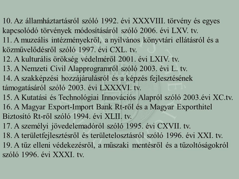 10. Az államháztartásról szóló 1992. évi XXXVIII