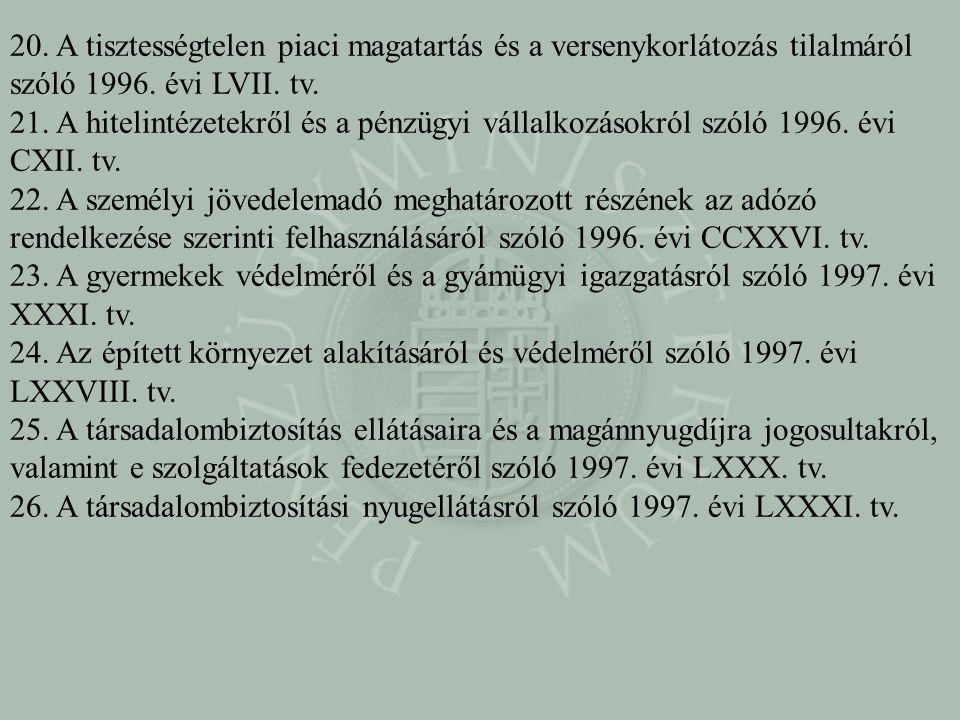 20. A tisztességtelen piaci magatartás és a versenykorlátozás tilalmáról szóló 1996. évi LVII. tv.