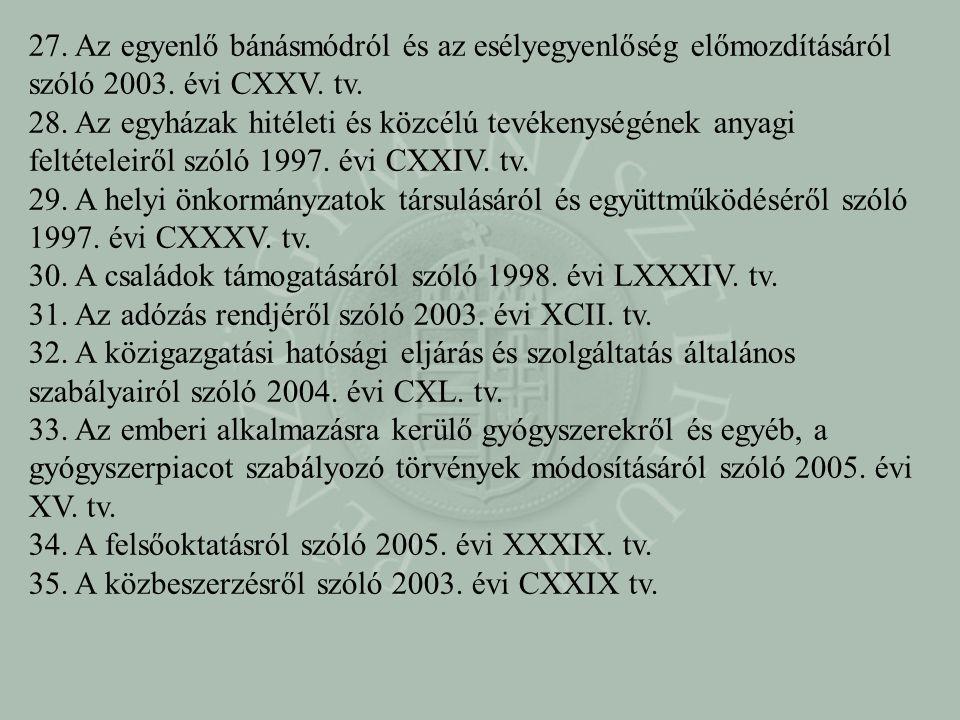 27. Az egyenlő bánásmódról és az esélyegyenlőség előmozdításáról szóló 2003. évi CXXV. tv.