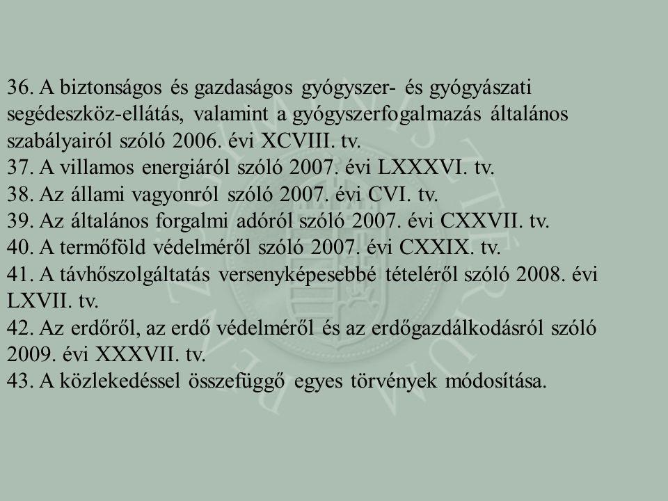 36. A biztonságos és gazdaságos gyógyszer- és gyógyászati segédeszköz-ellátás, valamint a gyógyszerfogalmazás általános szabályairól szóló 2006. évi XCVIII. tv.