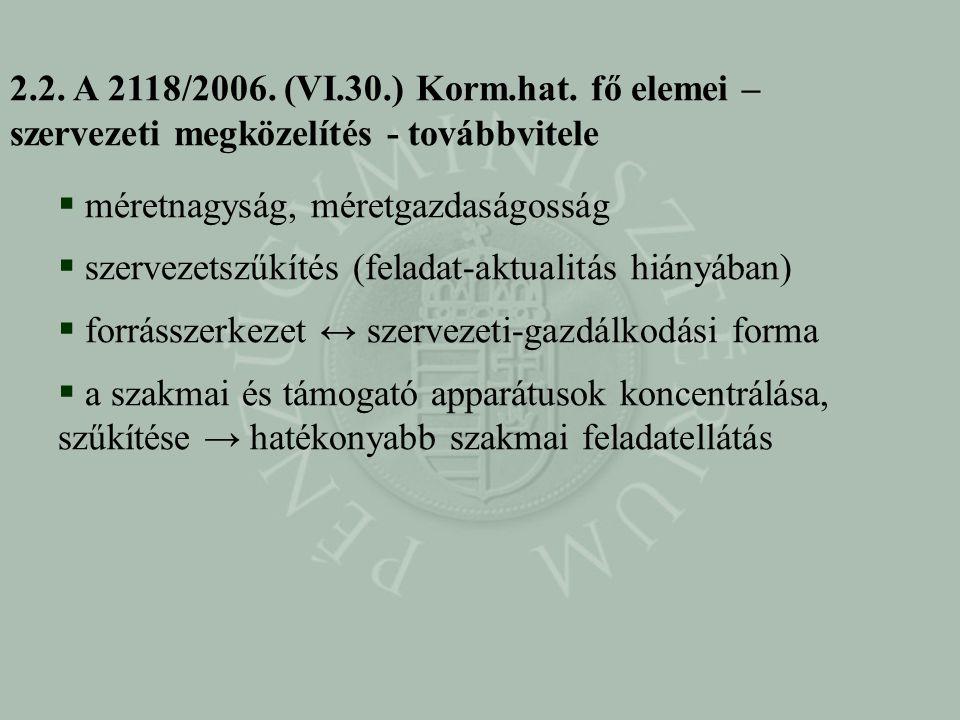 2.2. A 2118/2006. (VI.30.) Korm.hat. fő elemei – szervezeti megközelítés - továbbvitele