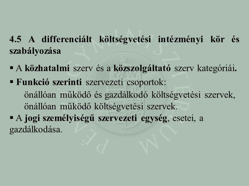 4.5 A differenciált költségvetési intézményi kör és szabályozása