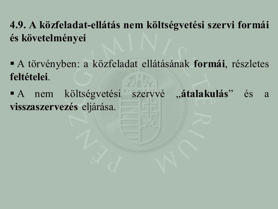 4.9. A közfeladat-ellátás nem költségvetési szervi formái és követelményei