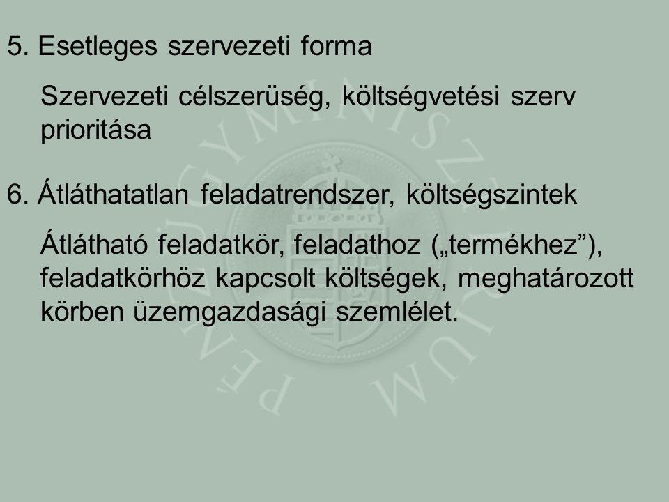 5. Esetleges szervezeti forma