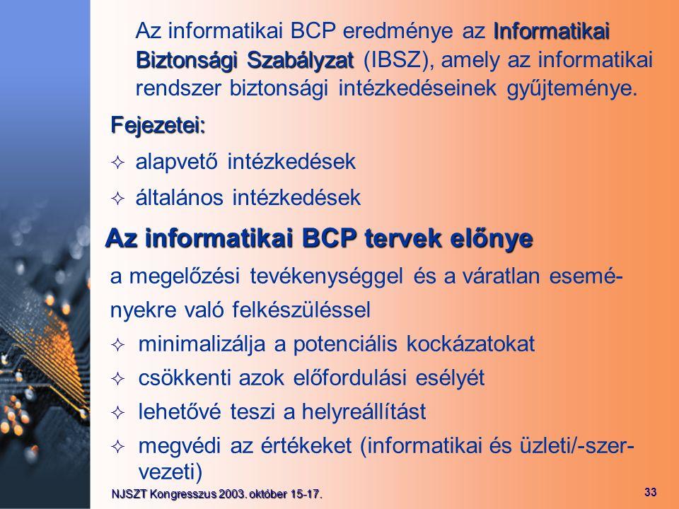 Az informatikai BCP tervek előnye