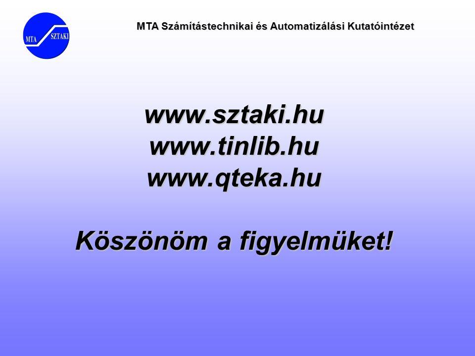 www.sztaki.hu www.tinlib.hu www.qteka.hu Köszönöm a figyelmüket!