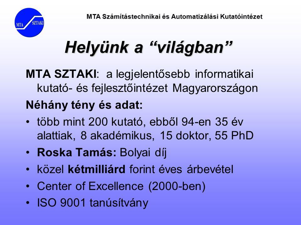 Helyünk a világban MTA SZTAKI: a legjelentősebb informatikai kutató- és fejlesztőintézet Magyarországon.