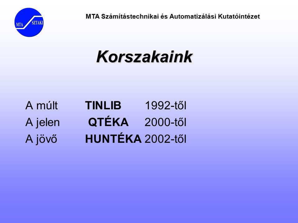 Korszakaink A múlt TINLIB 1992-től A jelen QTÉKA 2000-től