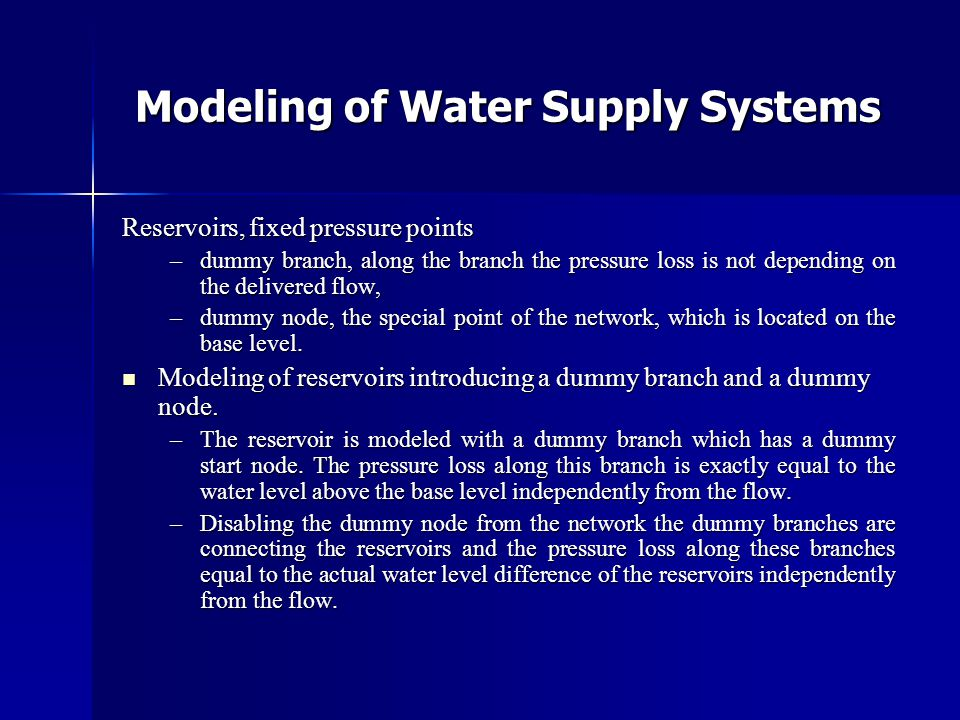 Modeling of Water Supply Systems
