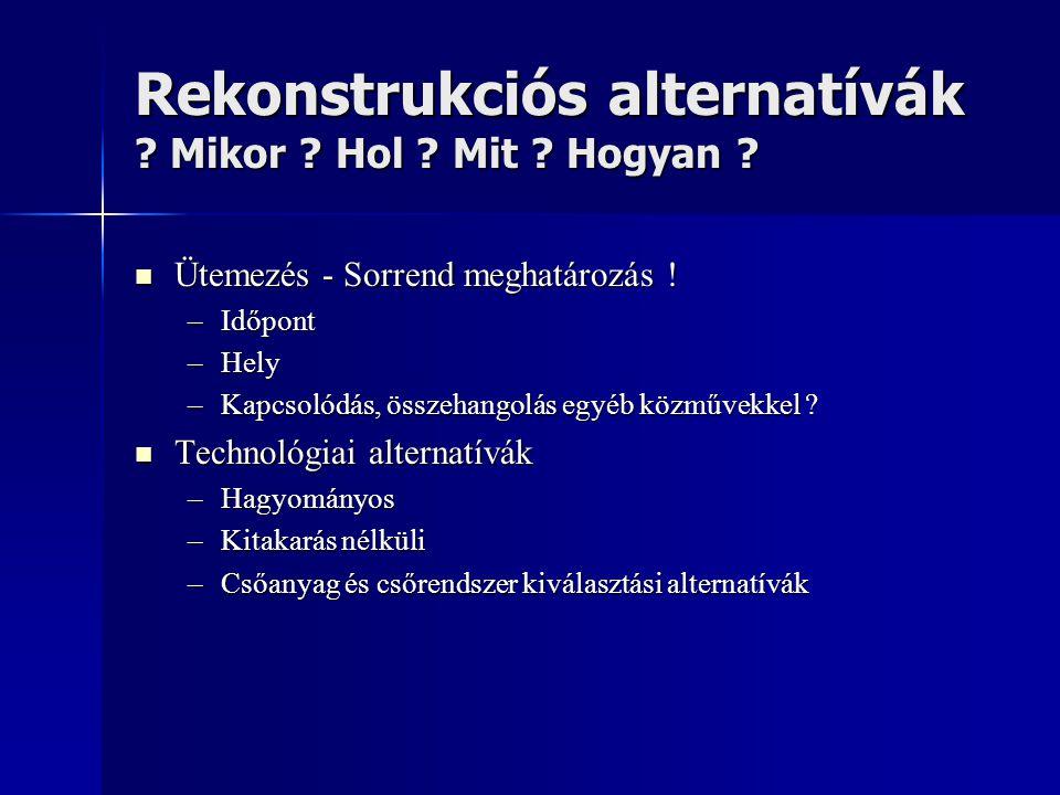 Rekonstrukciós alternatívák Mikor Hol Mit Hogyan