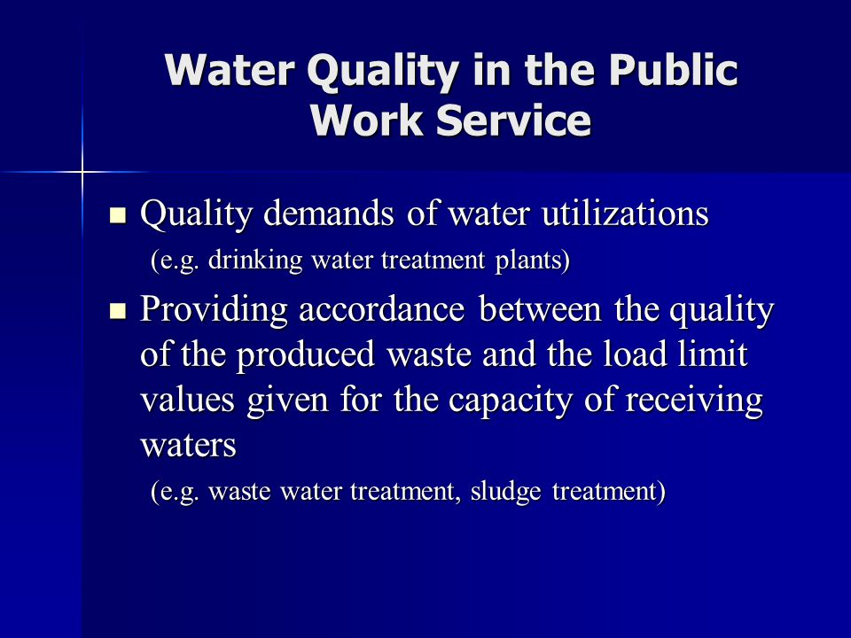 Water Quality in the Public Work Service