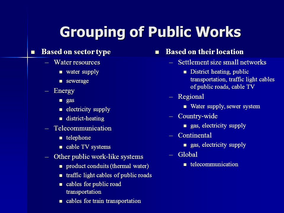 Grouping of Public Works