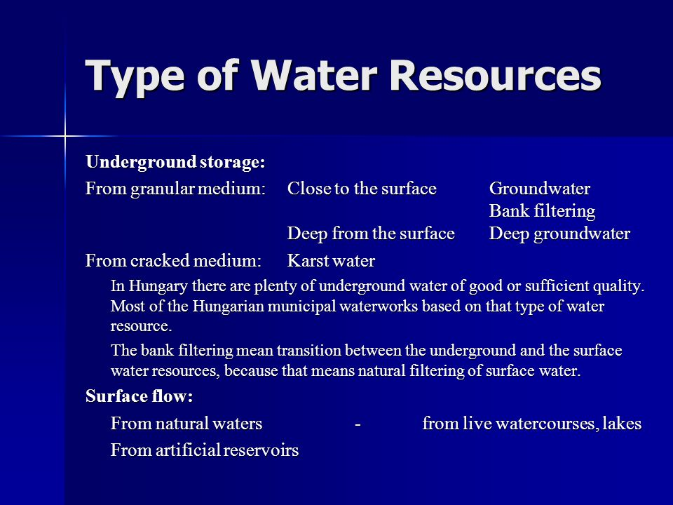 Type of Water Resources
