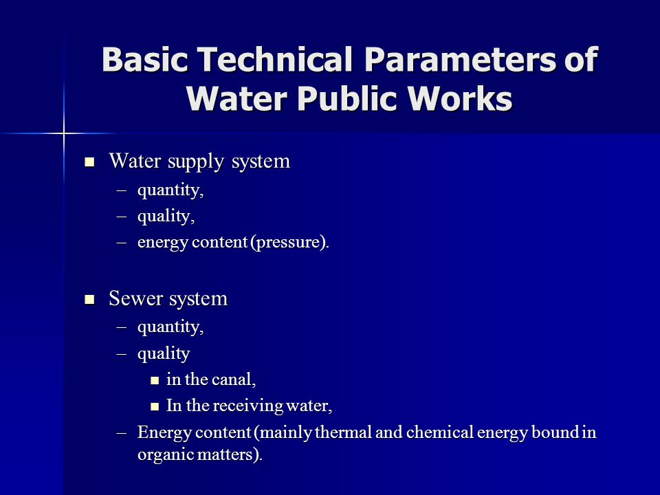 Basic Technical Parameters of Water Public Works