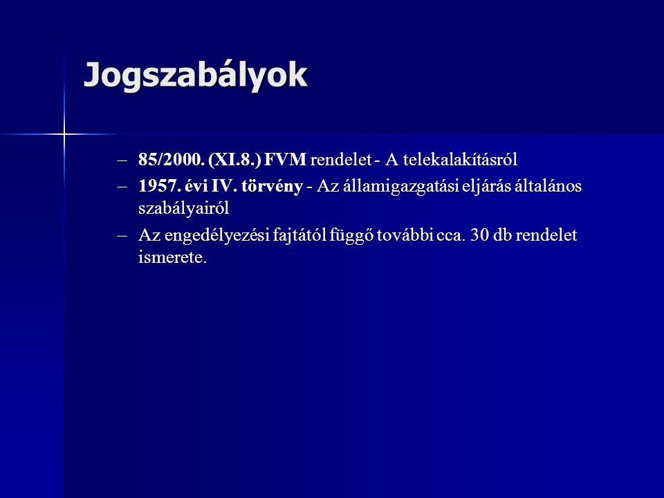 Jogszabályok 85/2000. (XI.8.) FVM rendelet - A telekalakításról