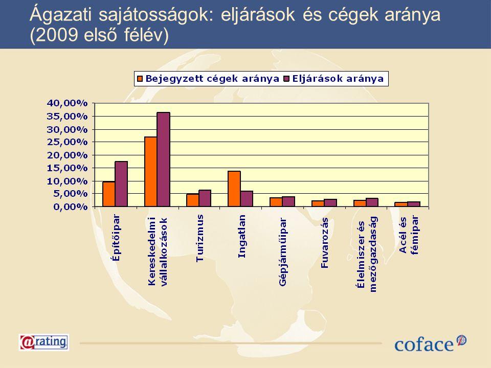 Ágazati sajátosságok: eljárások és cégek aránya (2009 első félév)