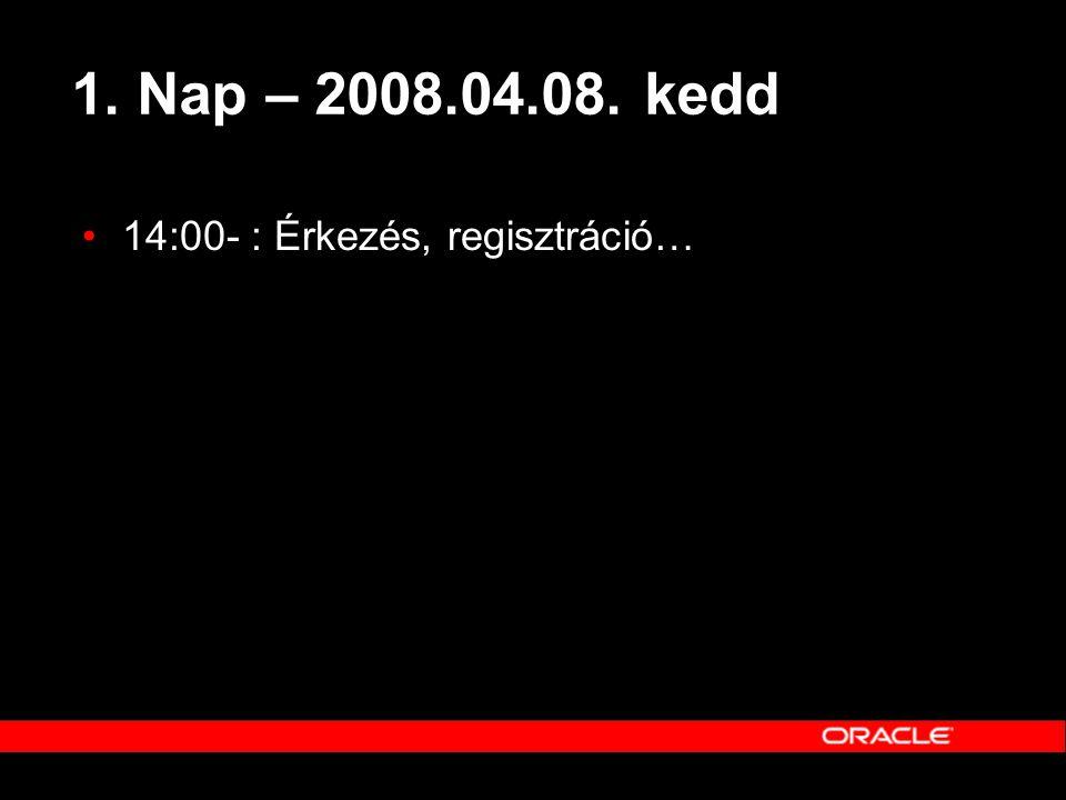 1. Nap – 2008.04.08. kedd 14:00- : Érkezés, regisztráció…