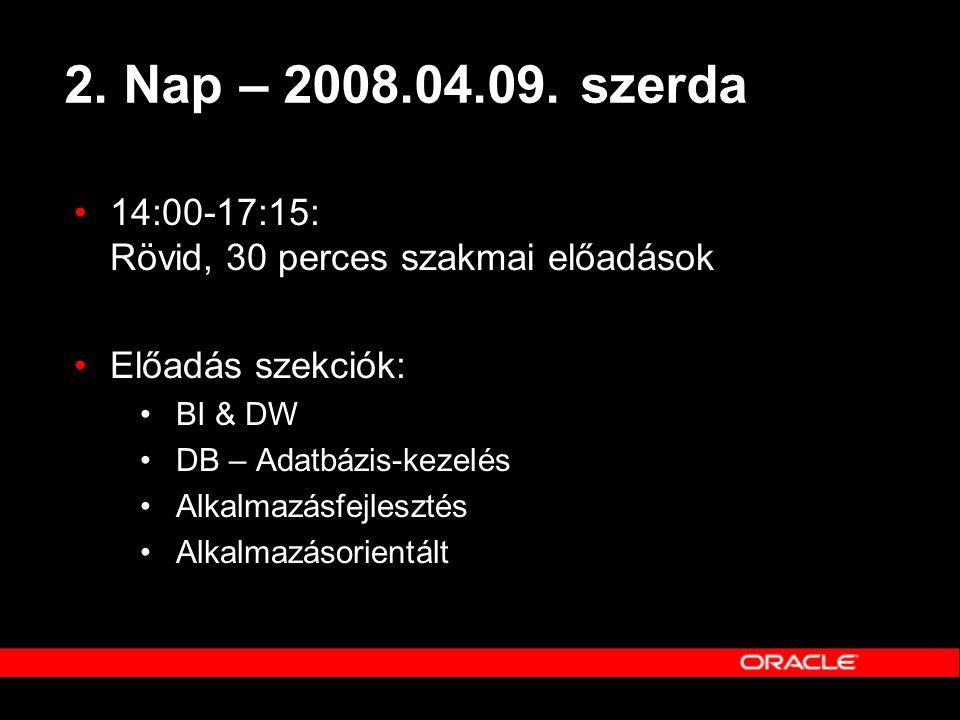 2. Nap – 2008.04.09. szerda 14:00-17:15: Rövid, 30 perces szakmai előadások. Előadás szekciók: BI & DW.