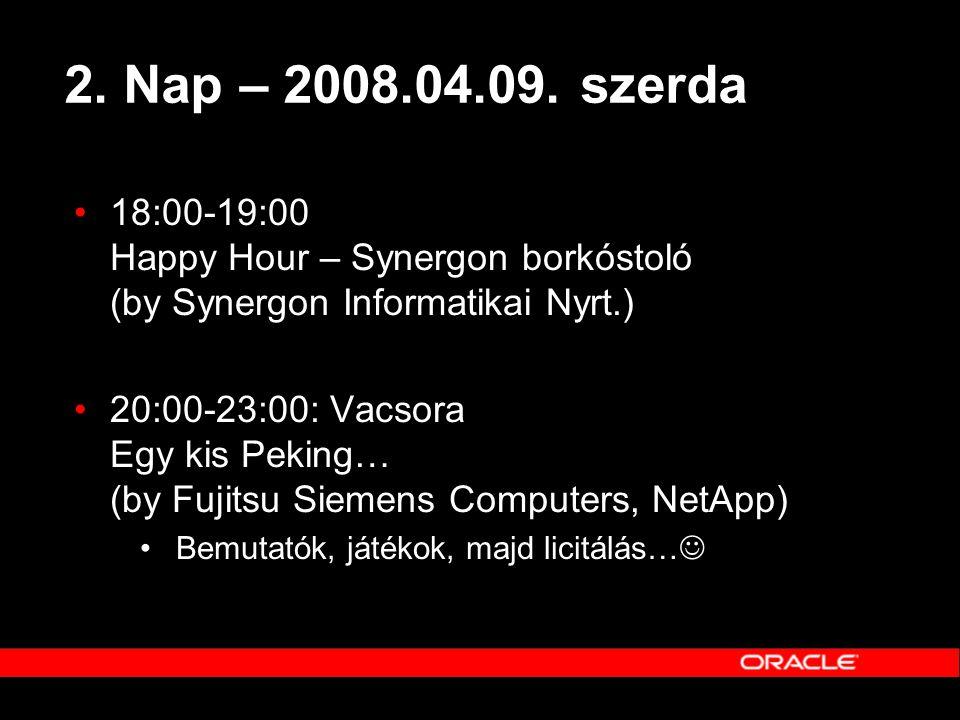 2. Nap – 2008.04.09. szerda 18:00-19:00 Happy Hour – Synergon borkóstoló (by Synergon Informatikai Nyrt.)