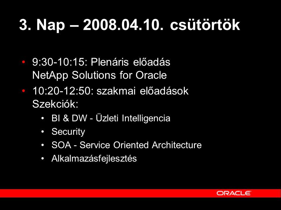 3. Nap – 2008.04.10. csütörtök 9:30-10:15: Plenáris előadás NetApp Solutions for Oracle. 10:20-12:50: szakmai előadások Szekciók: