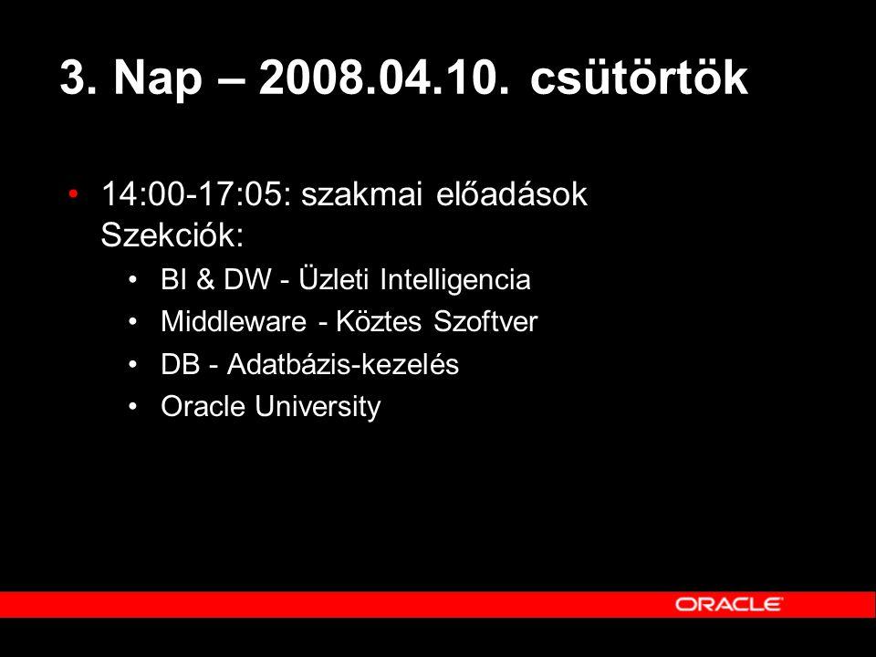 3. Nap – 2008.04.10. csütörtök 14:00-17:05: szakmai előadások Szekciók: BI & DW - Üzleti Intelligencia.