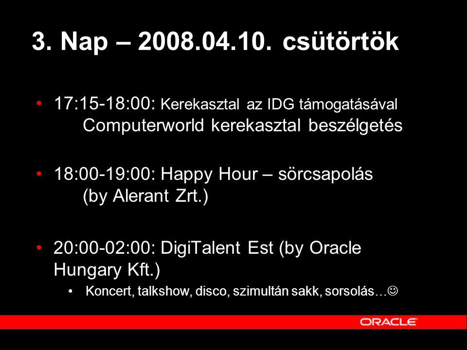 3. Nap – 2008.04.10. csütörtök 17:15-18:00: Kerekasztal az IDG támogatásával Computerworld kerekasztal beszélgetés.