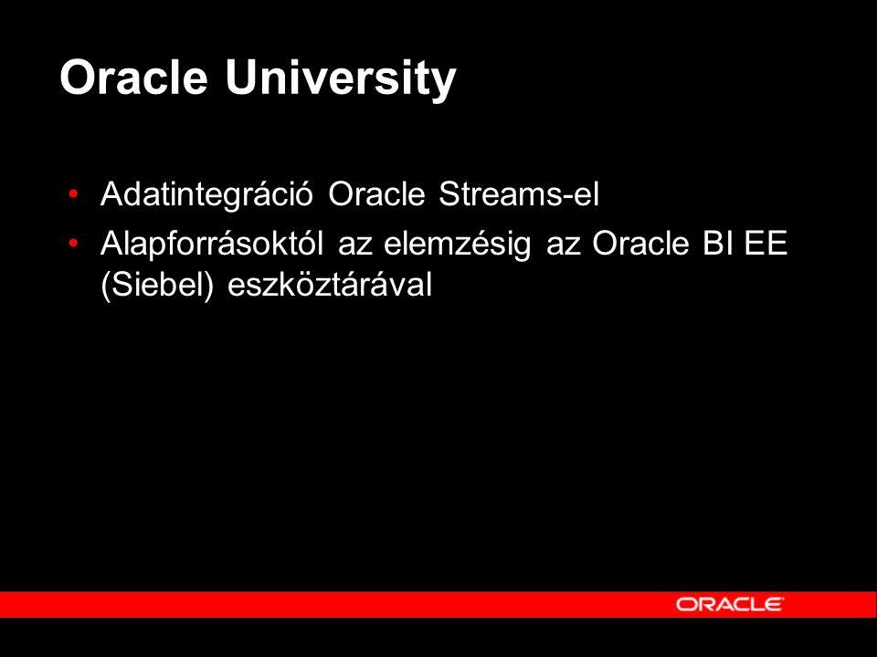 Oracle University Adatintegráció Oracle Streams-el
