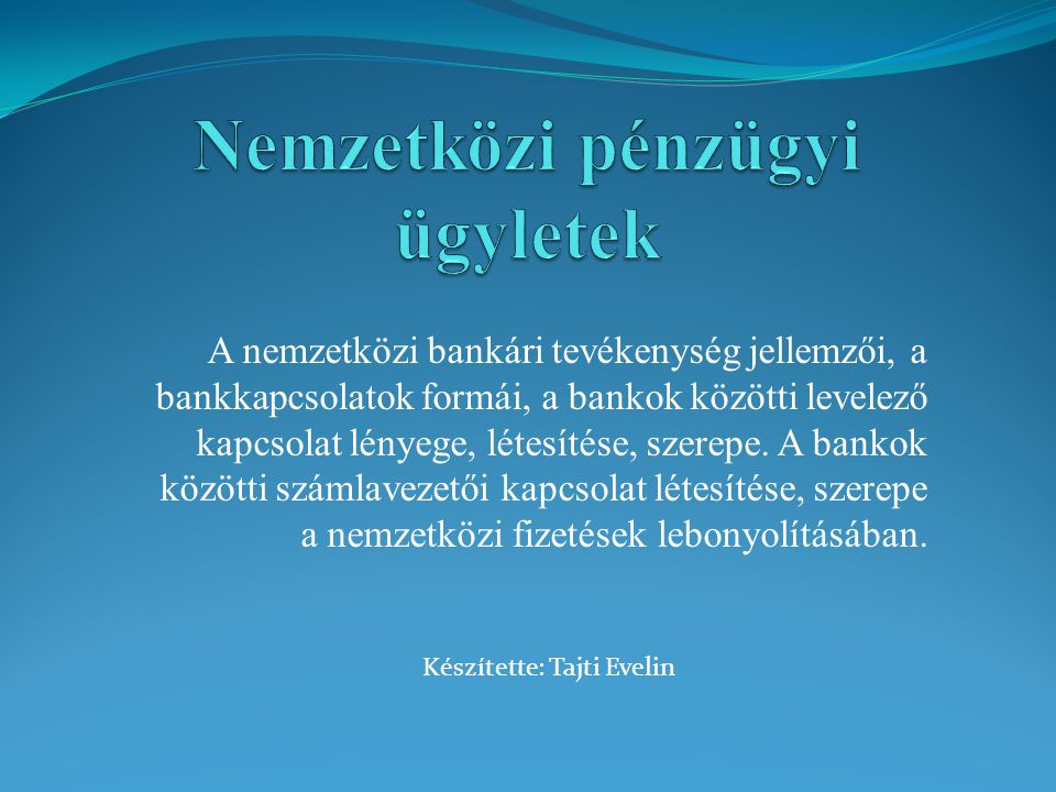 Nemzetközi pénzügyi ügyletek