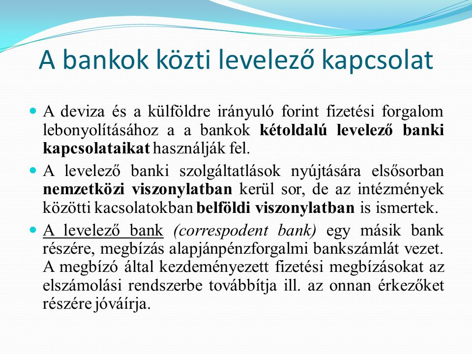 A bankok közti levelező kapcsolat
