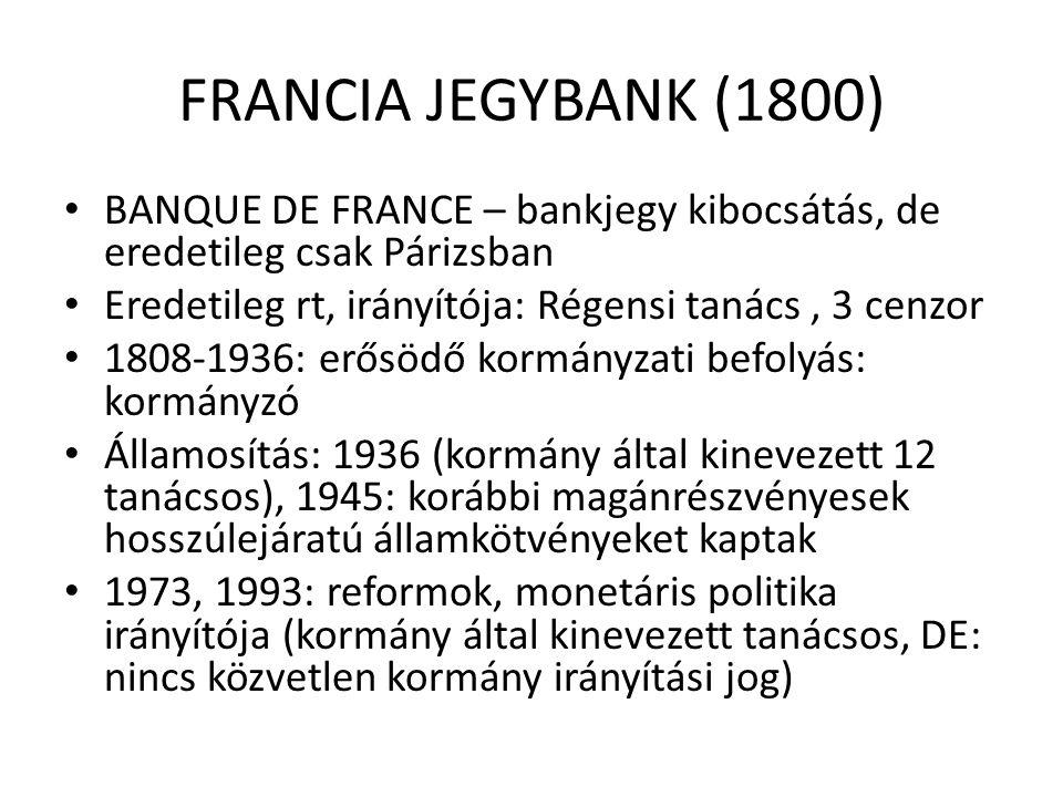 FRANCIA JEGYBANK (1800) BANQUE DE FRANCE – bankjegy kibocsátás, de eredetileg csak Párizsban. Eredetileg rt, irányítója: Régensi tanács , 3 cenzor.