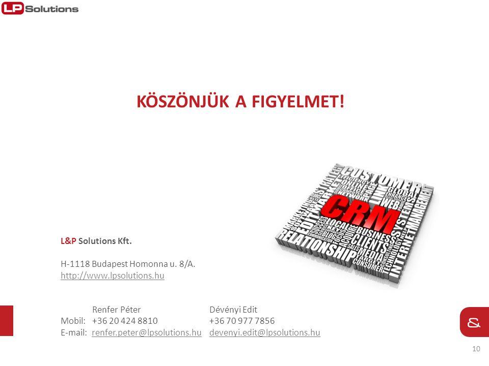 köszönjük a FIGYELMET! L&P Solutions Kft. H-1118 Budapest Homonna u. 8/A. http://www.lpsolutions.hu.