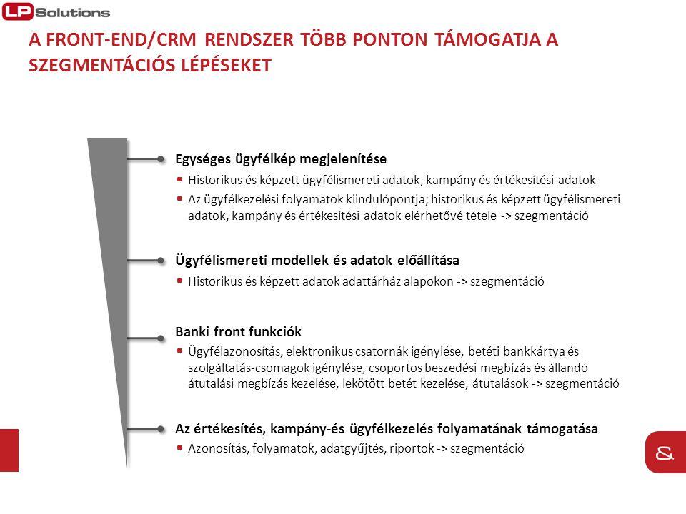 A Front-end/CRM rendszer több ponton támogatja a szegmentációs lépéseket