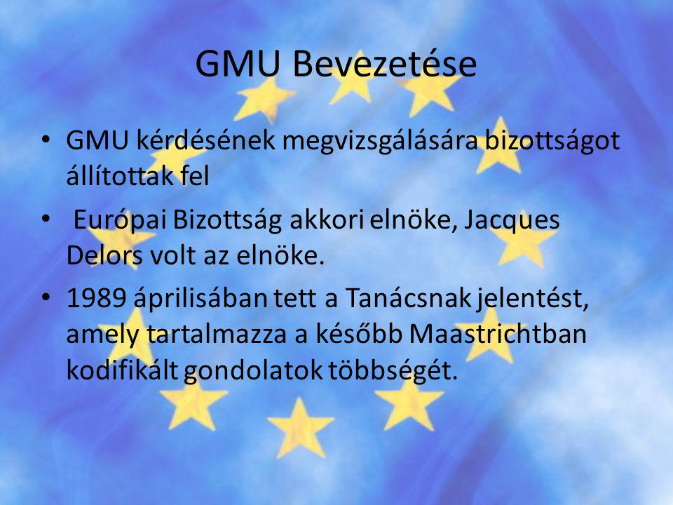 GMU Bevezetése GMU kérdésének megvizsgálására bizottságot állítottak fel. Európai Bizottság akkori elnöke, Jacques Delors volt az elnöke.