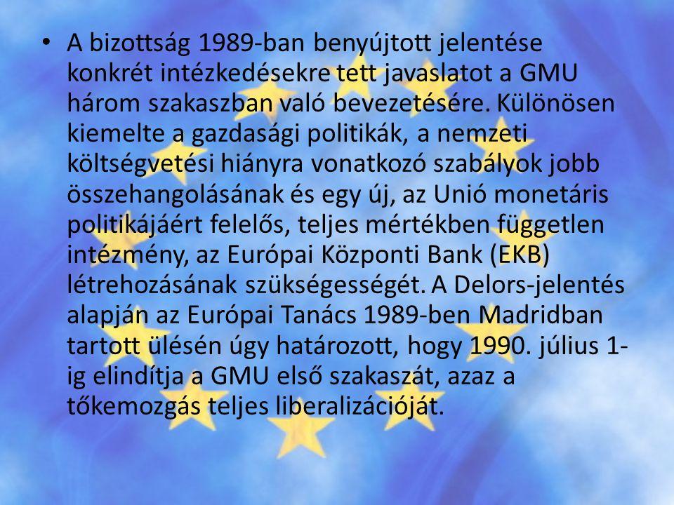A bizottság 1989-ban benyújtott jelentése konkrét intézkedésekre tett javaslatot a GMU három szakaszban való bevezetésére.