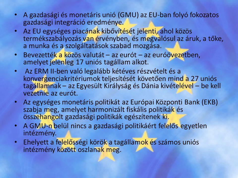 A gazdasági és monetáris unió (GMU) az EU-ban folyó fokozatos gazdasági integráció eredménye.