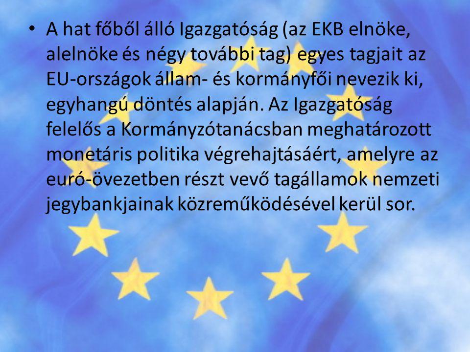 A hat főből álló Igazgatóság (az EKB elnöke, alelnöke és négy további tag) egyes tagjait az EU-országok állam- és kormányfői nevezik ki, egyhangú döntés alapján.