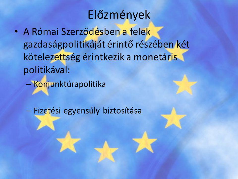 Előzmények A Római Szerződésben a felek gazdaságpolitikáját érintő részében két kötelezettség érintkezik a monetáris politikával: