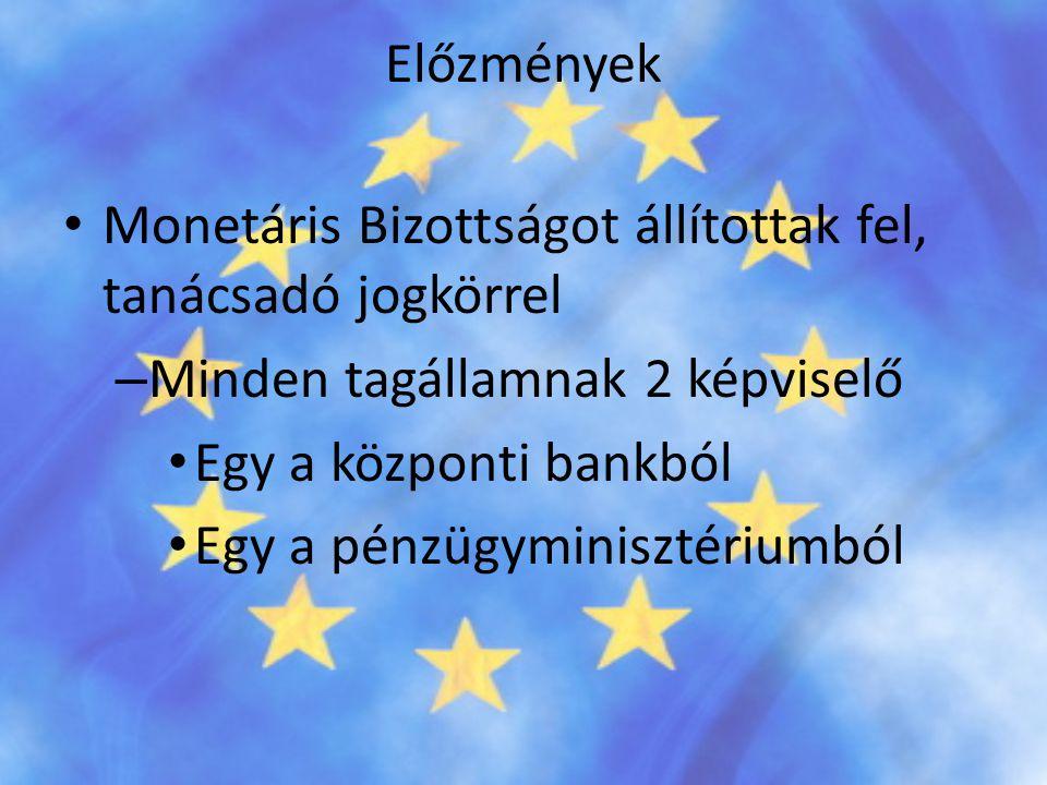 Előzmények Monetáris Bizottságot állítottak fel, tanácsadó jogkörrel. Minden tagállamnak 2 képviselő.