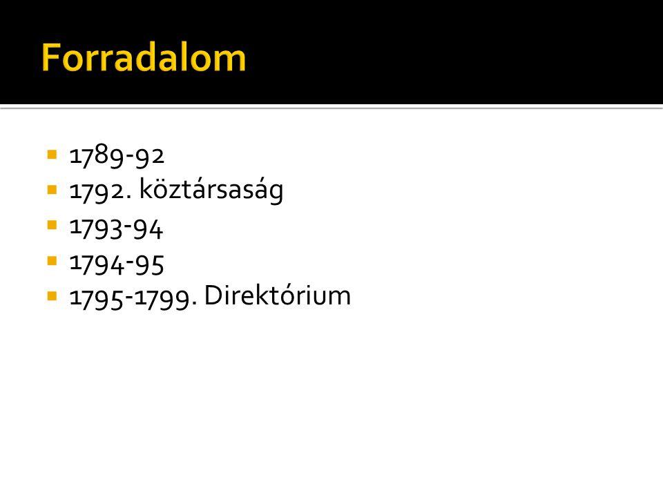 Forradalom 1789-92 1792. köztársaság 1793-94 1794-95