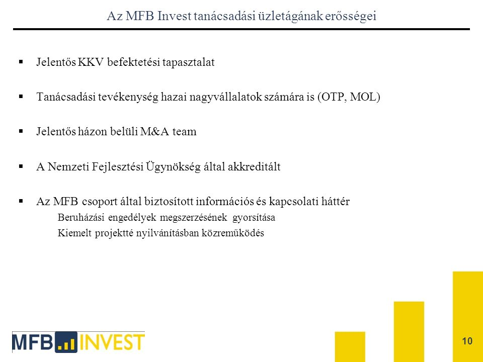 Az MFB Invest tanácsadási üzletágának erősségei