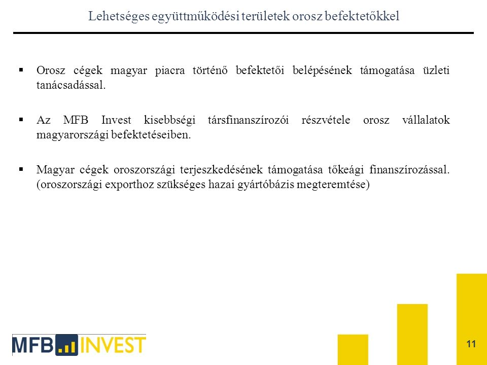 Lehetséges együttműködési területek orosz befektetőkkel