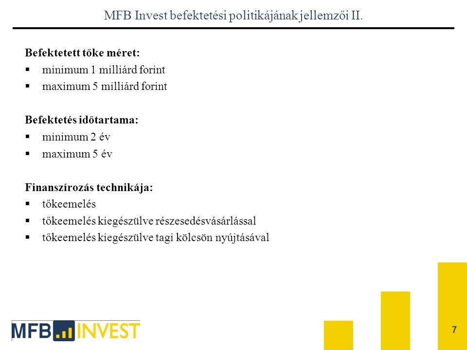 MFB Invest befektetési politikájának jellemzői II.