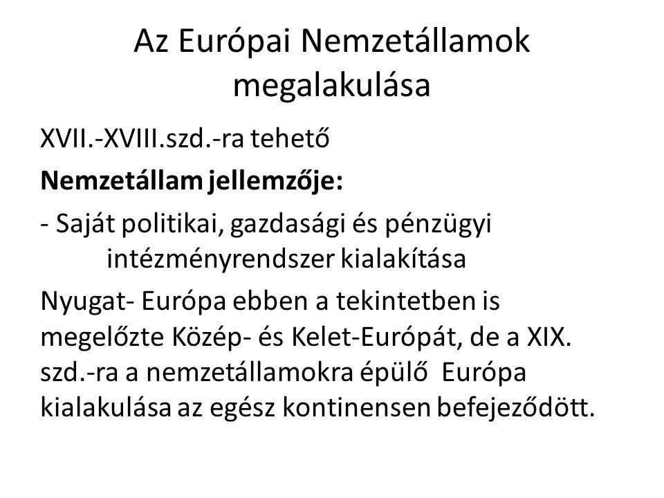Az Európai Nemzetállamok megalakulása