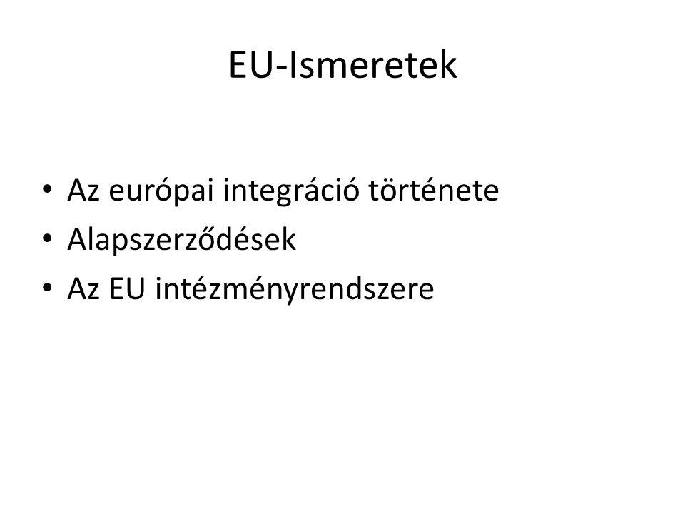 EU-Ismeretek Az európai integráció története Alapszerződések