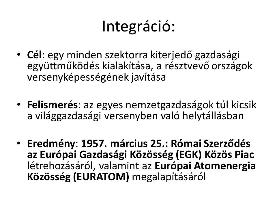 Integráció: Cél: egy minden szektorra kiterjedő gazdasági együttműködés kialakítása, a résztvevő országok versenyképességének javítása.